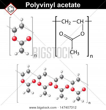 Polyvinyl acetate polymer chemical structure 2d and 3d illustration vector on white background eps 8
