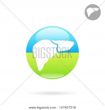 Liver organ icon 2d vector logo on colored round plate eps 10