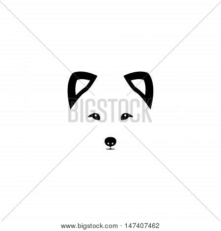 Arctic fox head on white background. Polar fox logo. Vector illustration.