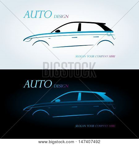 Logo for car on a white background. Auto company logo. Blue and white background.