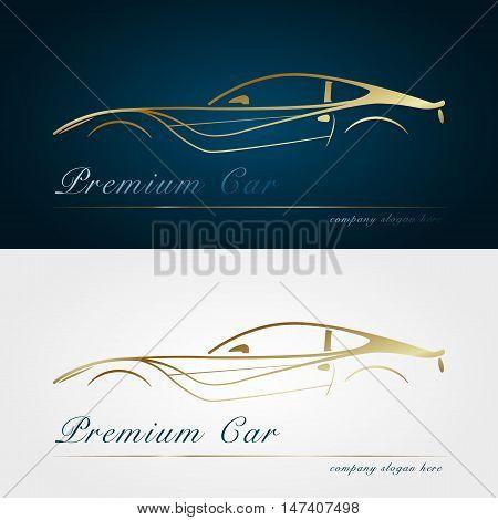 Car company dark and white background. Gold silhouette car. Badge app emblem. Design element. Vector illustration.