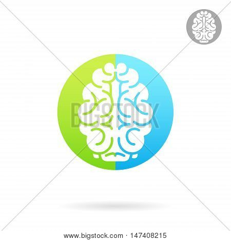 Brain medical icon on colored round plate 2d vector icon medical logo illustration eps 10