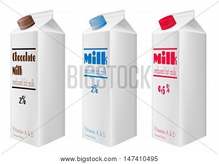 Milk cartons with screw cap. Reduced fat milk.