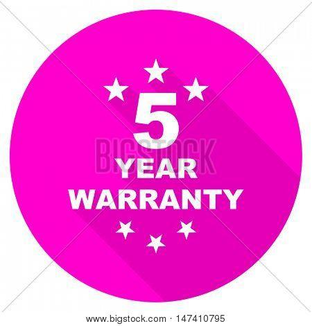 warranty guarantee 5 year flat pink icon