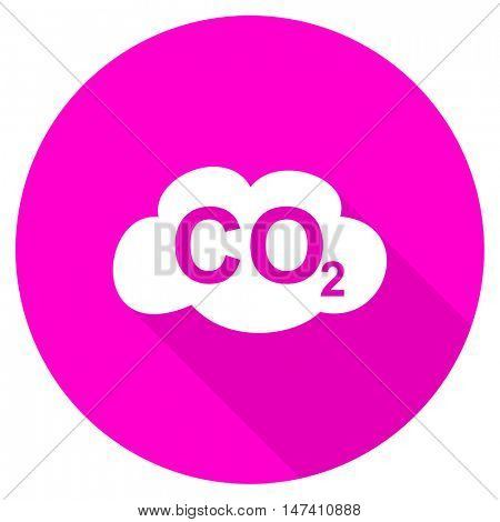 carbon dioxide flat pink icon
