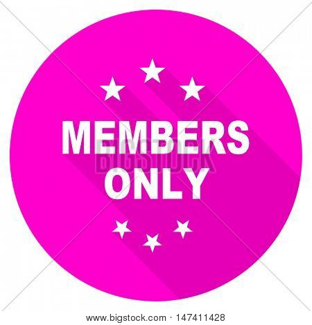 members only flat pink icon