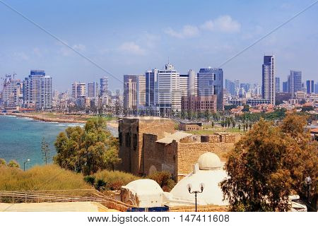 TEL AVIV, ISRAEL - August 24, 2016: views of modern Tel Aviv with luxurious hotels and high-rise office buildings from a height of old Jaffa on august 24, 2016 Tel Aviv, Israel