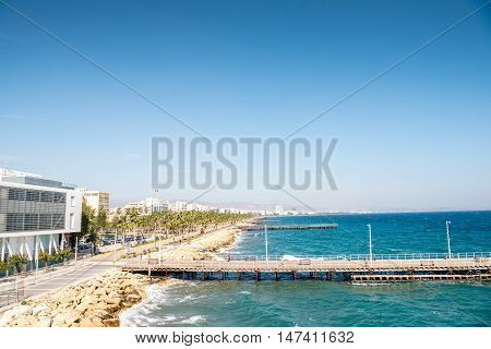 Limassol Coast With Jetties, Cyprus