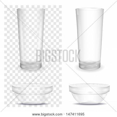 Transparent glass and salad bowl. Vector illustration.
