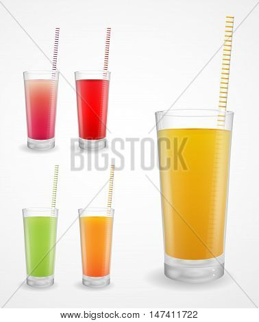 Set of fruit juice in a glass with a straw. Vector illustration.