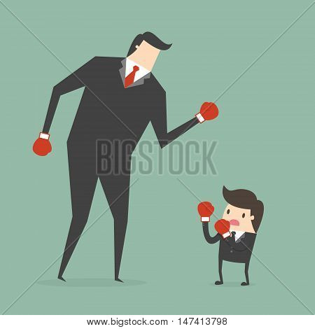 Businessman boxing against a giant businessman. Business concept cartoon illustration