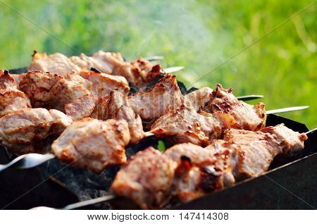 Appetizing shish kebab is fried on a skewers outdoor