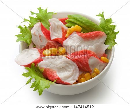 Crab meat with fresh green lettuce and corn in the bowl