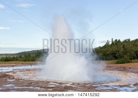 Strokkur Eruption In The Geysir Area, Iceland