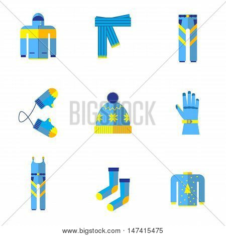 Various types of winter clothes and accessories.kit winter clothes flat icon isolated on white background
