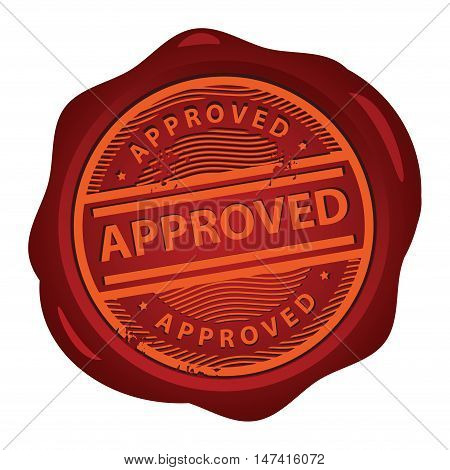 Wax seal with text Approved inside, vector illustration
