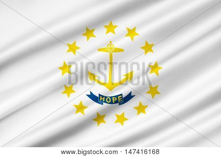 Flag of Rhode Island officially the State of Rhode Island and Providence Plantations is a state in the New England region of the United States. 3D illustration