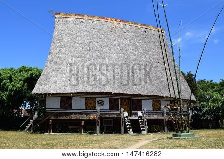 Traditional Rong House In Ethnic Villages In Highland Vietnam