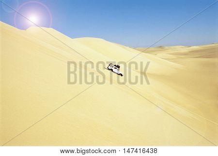 Car in hot desert