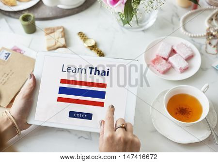 Learn Thai Language Online Education Concept