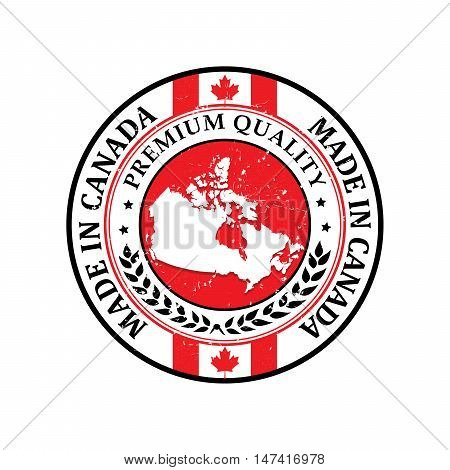 Made in Canada, Premium Quality - grunge label containing the flag colors and the map of Canada. Print colors used