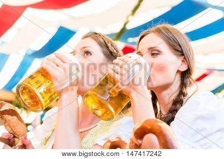Two friends drink beer from mugs at Bavarian folk fair in tent
