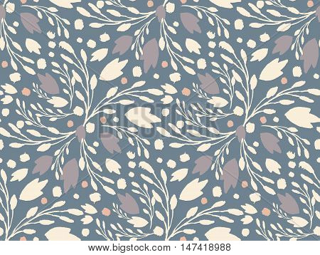 Organic Floral Pattern In Muted Cold Colors