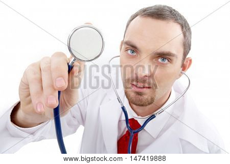 Portrait of a general practitioner listening to heartbeat