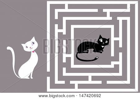 Cute Cat's Maze Game .Help cat to find his love. Vector illustration