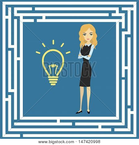 Business idea concept labyrinth and a businesswoman vector illustration