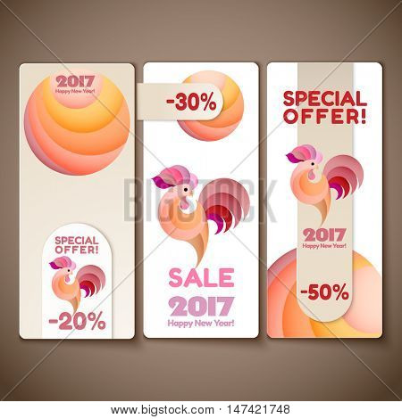 Banner sale and Special Offer set for 2017 New Year of rooster on the wooden background. Year of rooster design for your business label, also for print. Vector illustration