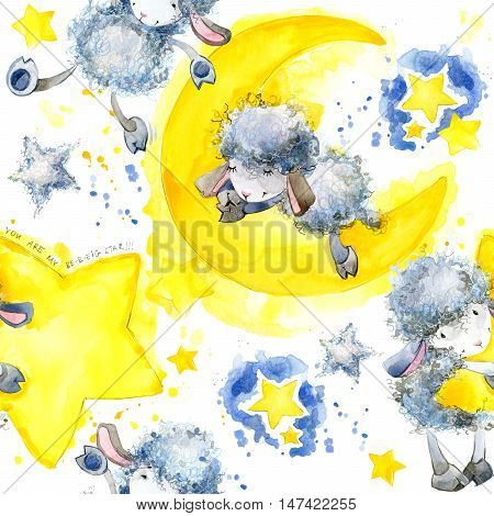 Seamless pattern with cute Sheep and star. Sheep and Stars watercolor background