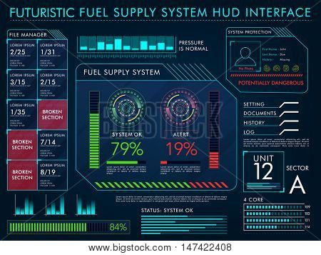 Futuristic Fuel Supply System HUD Interface layout, Big set of infographic elements, Virtual technology background with statistical bars, graphs and charts.