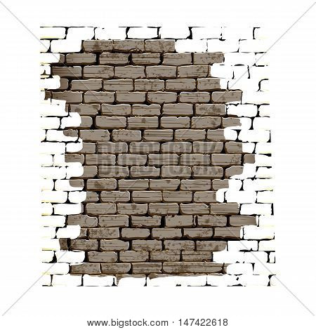Old brick wall with plaster on the white background object without borders can be combined with any image or text.