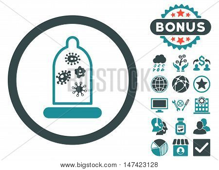 Condom Microbes icon with bonus images. Vector illustration style is flat iconic bicolor symbols, soft blue colors, white background.