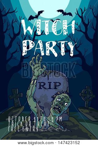 Halloween vector illustration with spooky zombie dead man, moon and grave. Background with scary landscape with graveyard to night. Horror holiday design. Poster halloween party invitation. template.