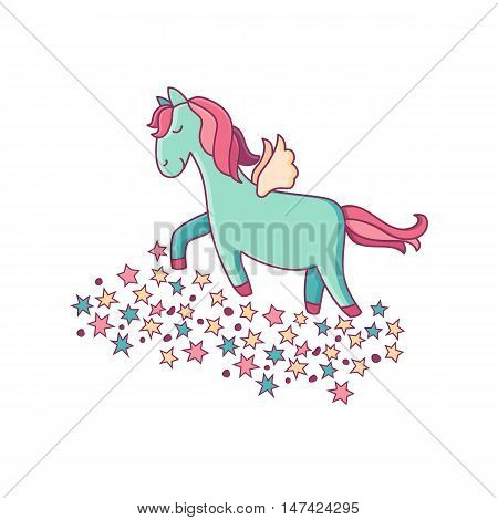 Vector Illustration Of Magic Unicorn.