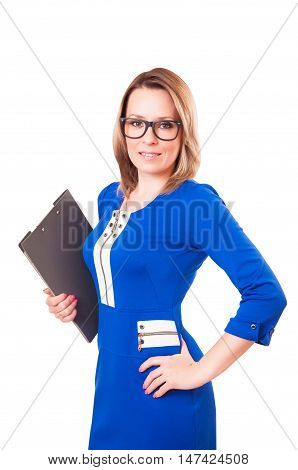 Portrait of a woman in glasses and with folder in her hands isolated on white background