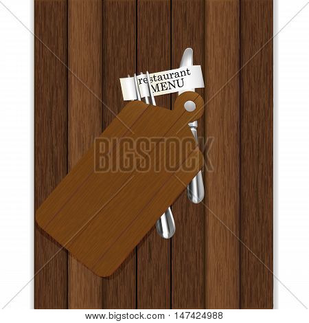 Restaurant menu with cutting board on a wooden background knife and fork with ribbon and inscription restaurant menu. Isolated object you can use any background image or text.
