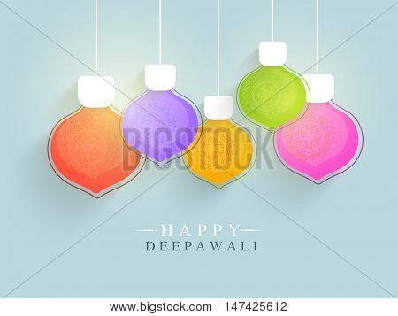 Colorful hanging lamps with floral design decoration, Elegant festive background, Can be used as Greeting Card or Invitation Card for Indian Festival, Happy Deepawali or Diwali celebration.