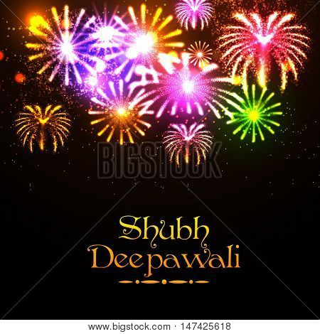Creative sparkling festive background with colorful firework explosion, Glowing colorful Poster, Banner or Flyer design for Indian Festival of Lights, Shubh Deepawali (Happy Deepawali) celebration.