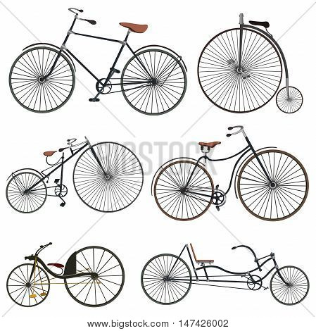 Set of bicycles in vintage style.Set of old bicycle vector. Vintage bicycle isolated icon design, vector illustration graphic.