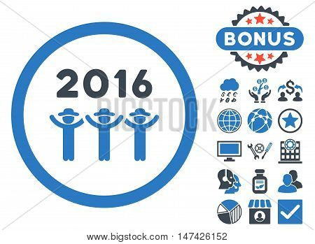 2016 Guys Dance icon with bonus pictogram. Vector illustration style is flat iconic bicolor symbols, smooth blue colors, white background.