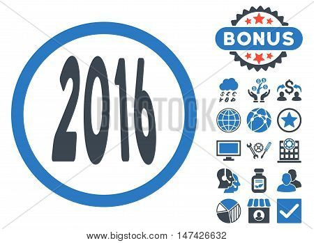 2016 Perspective icon with bonus images. Vector illustration style is flat iconic bicolor symbols, smooth blue colors, white background.