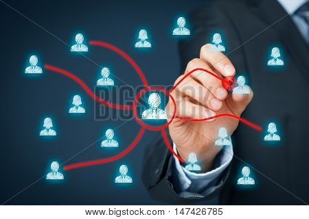 Manager delegate work to another team workers. Managerial concept with delegation.