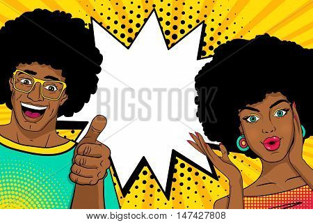 Wow Couple. Sexy Happy Surprised African Man And Woman In Pop Art Comic Retro Style With Open Mouths