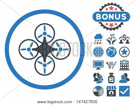 Air Drone icon with bonus design elements. Vector illustration style is flat iconic bicolor symbols, smooth blue colors, white background.
