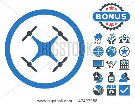 Airdrone icon with bonus images. Vector illustration style is flat iconic bicolor symbols, smooth blue colors, white background.