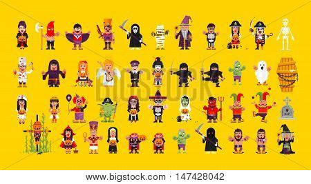 Stock Vector set of characters for Halloween in a flat style