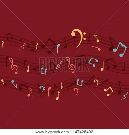 Multicolored music note icon. Sound melody pentagram and musical theme. Vector illustration